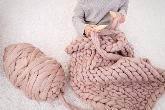 DIY KNIT Kit Chunky knit blanket Giant Knitting Needles & | Et