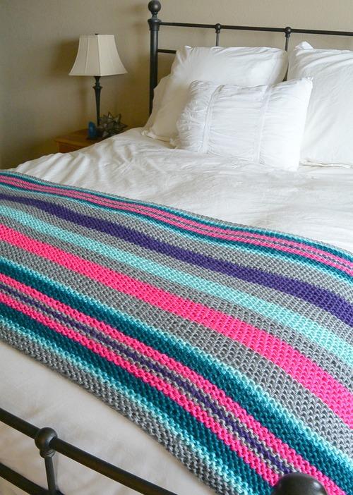 Native Stripes Knit Blanket | AllFreeKnitting.c