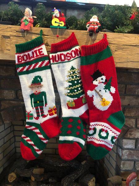 Hand Knit Elf, Christmas Tree and Snowman Christmas Stockings .