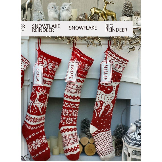 Knit Christmas Stockings Red White Reindeer or Snowflake   Et