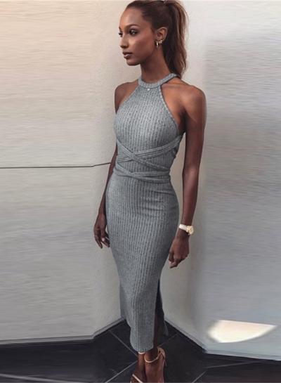Women's Fashion off Shoulder Backless Slit Bodycon Knit Dress .