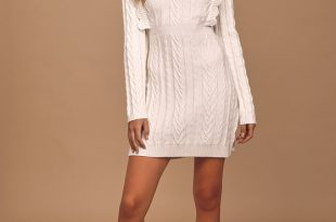 Ivory Sweater Dress - Cable Knit Sweater Dress - Cozy Knit Dre