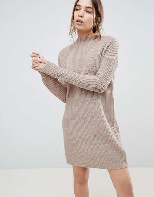 ASOS Chunky Knit Dress In Rib With High Neck | AS