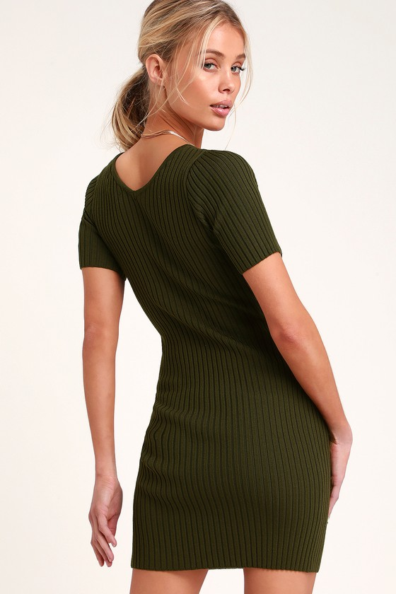 Chic Olive Green Dress - Ribbed Knit Dress - Ribbed Bodycon Dre