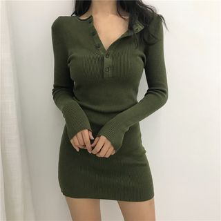 FancyMe Long-Sleeve Henley Mini Bodycon Rib-Knit Dress | YesSty