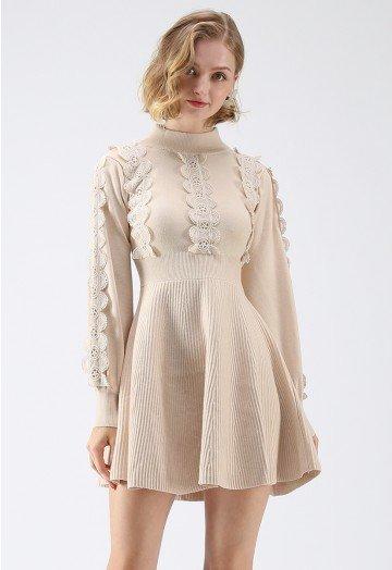 Amiable Attraction Crochet A-Lined Knit Dress in Cream - Retro .