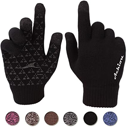 Amazon.com: Achiou Winter Knit Gloves Touchscreen Warm Thermal .