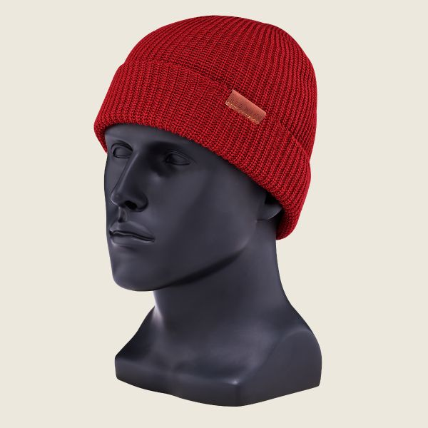 Merino Wool Knit Hat   Red Wi