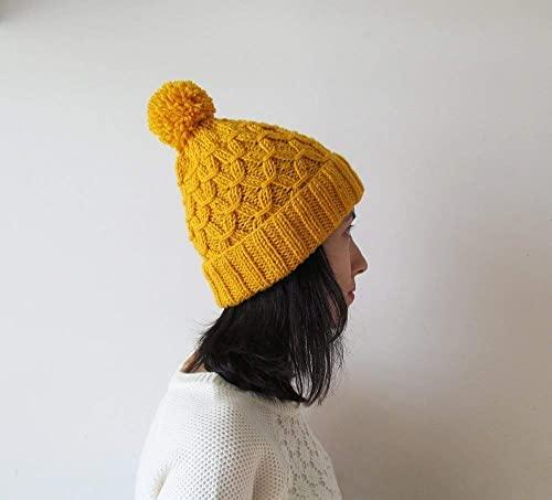 Amazon.com: Hand Knitted Hat in Yellow, Beanie with Pom Pom, Women .
