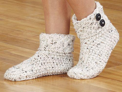 Mary Maxim - Knit Slippers - Aran Twi