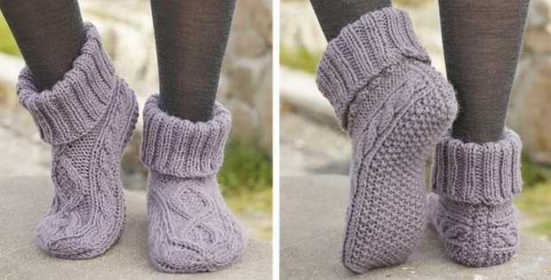 Celtic Dancer Knitted Cable Slippers [FREE Patter