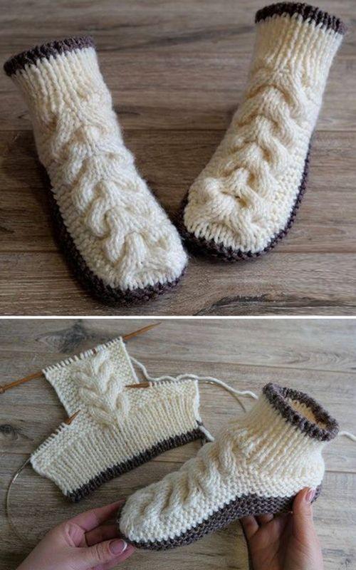 Wool Cable Slippers - Free Knitting Pattern (Amazing Knitting .