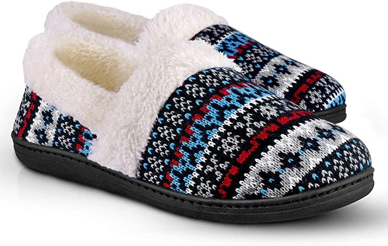 Amazon.com | Women's Slip-On Knit Slippers Memory Foam Slippers .