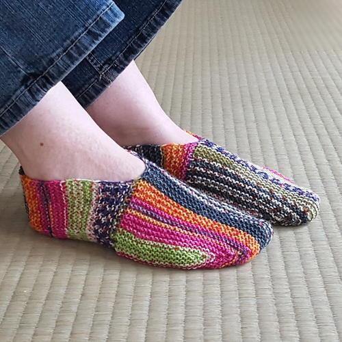 Rainbow Striped Knit Slipper Pattern | AllFreeKnitting.c