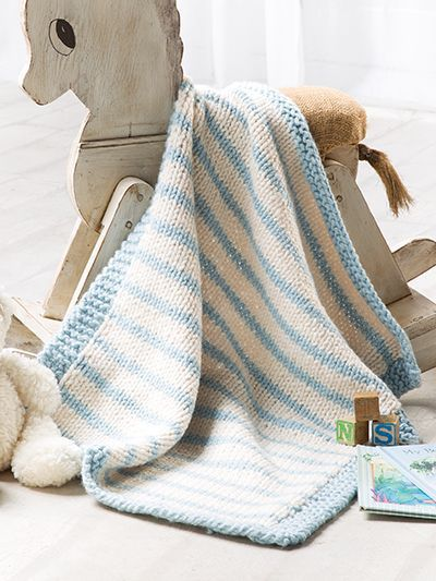 Free knitting pattern for Blue Striped Baby Blanket and more baby .