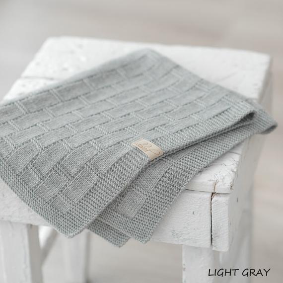 Grey Baby Blanket Hand Knitted Baby Blanket Merino Wool Baby | Et