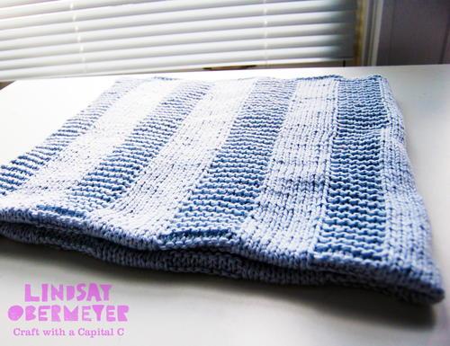 Beginner Blue Baby Blanket | AllFreeKnitting.c