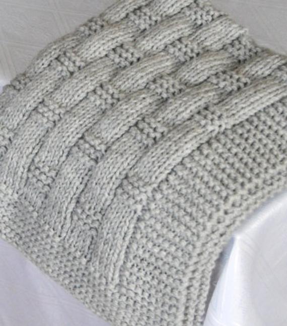 Light Gray Baby Blanket Knitted Baby Blanket Knit Baby | Et