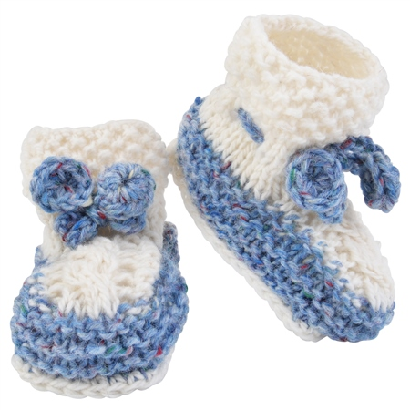 Blue & White Hand Knit Baby Booties Seasonal collections from .