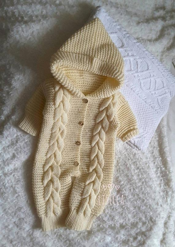 Hand knitted baby clothes Baby knit vanilla romper Knit romper 3 .