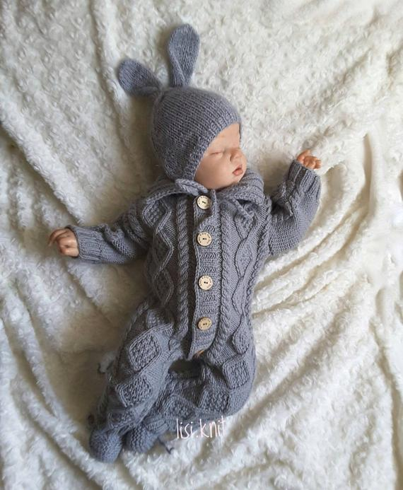 Baby knitted jumpsuit Knitted baby clothes Baby knitted romper .