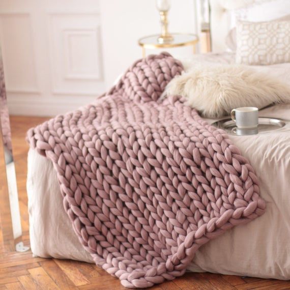 Chunky Knit Knit Blanket Pink Knitted Blanket Giant | Et