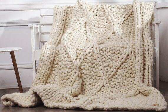 Chunky knit blanket Knitted blanket Throw blanket Bulky | Et