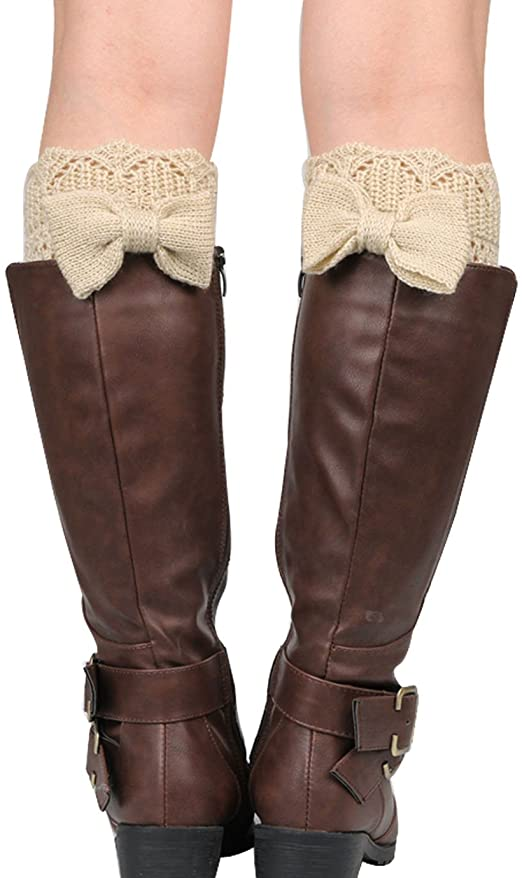 YAOSEN Women Bowknot Knitted Boots Socks Hollow Out Leg Warmer .