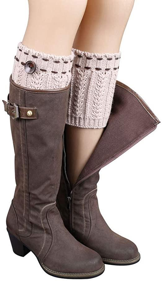 Knit Leg Warmers - Short Women Crochet Boots Socks Knitted Boot .