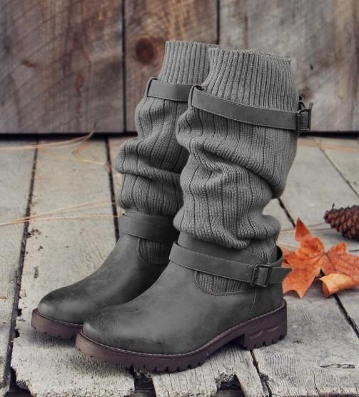 US4 11 Retro Women Boots Winter Buckle Motorcycle Boot Flat Shoes .