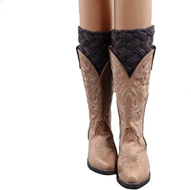 Girls Womens Short Boots Socks Crochet Knitted Boot Cuffs Leg .