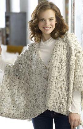 Free Knitting Pattern - Women's Shrugs, Wraps & Capes: Aran Wrap .