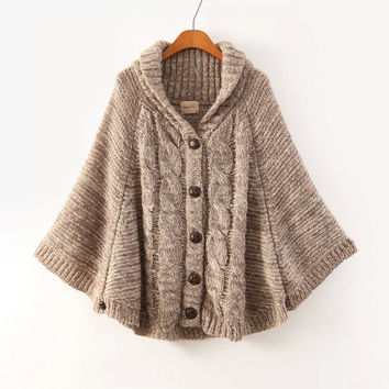 Brown Long-Sleeve Button Knitted Cape from IDEOLO