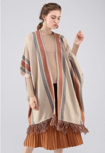 Stylish Folk Stripe Tassel Knitted Cape in Tan - Retro, Indie and .