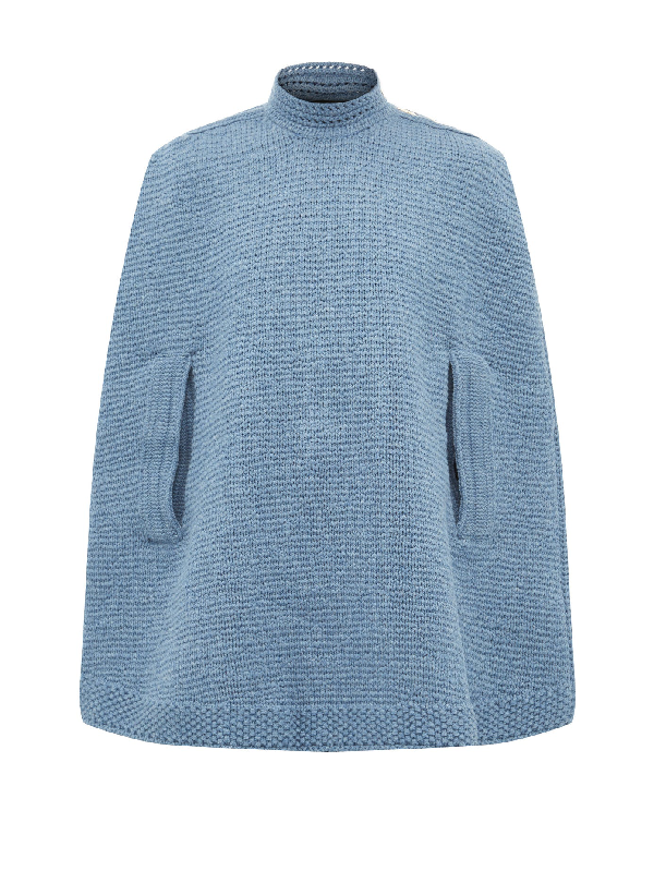 Marc Jacobs Wool And Cashmere Knitted Cape In Navy | ModeSe