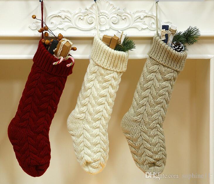 Knitted Christmas Stockings Long Knitting Christmas Sock Gift Bag .