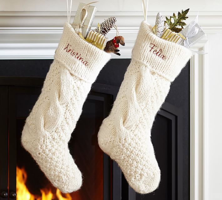 Cable knit christmas stockings - 6 PHOTO! | Knitted christmas .