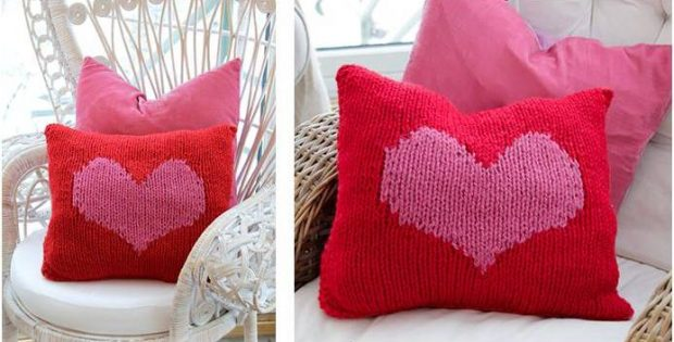 Hearty Love Knitted Cushion Cover [FREE Knitting Patter