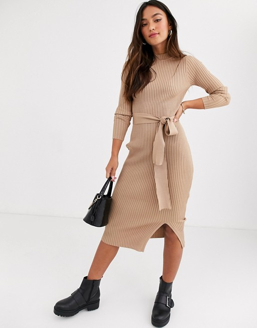 New Look tie waist maxi knitted dress in oatmeal   AS