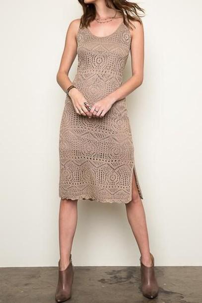 dress, midi summer knit dress, knitted dress, midi dress, nude .