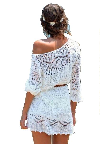 White Women Summer Sexy Lace Crochet Knit Dress Beach Dress Top .