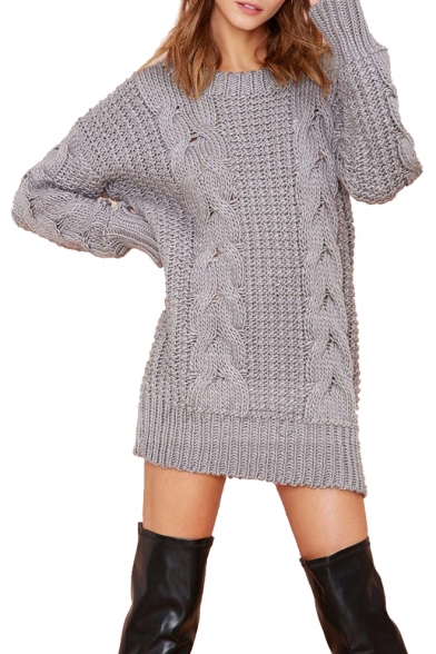 Vintage Plain Loose Chunky Cable Knitted Dress with Long Sleeve .