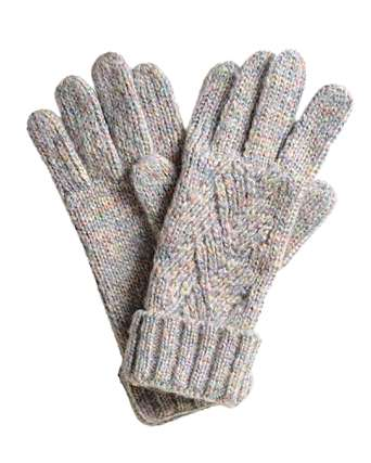Rainbow Gray Cable Knitted Gloves   Oliver Bonas