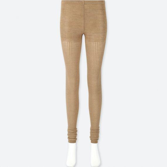 WOMEN HEATTECH Knitted Leggings 1 Pack (Rib Melange) - HEATTECH .