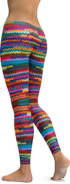 Colorful Knitted Pattern Leggings– GearBun