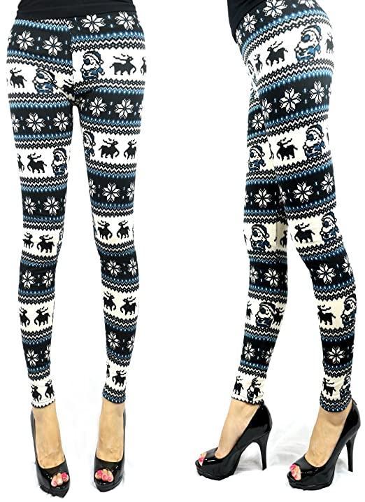 Women's Winter Warm Knitted Leggings Pants Snowflakes Reindeer .