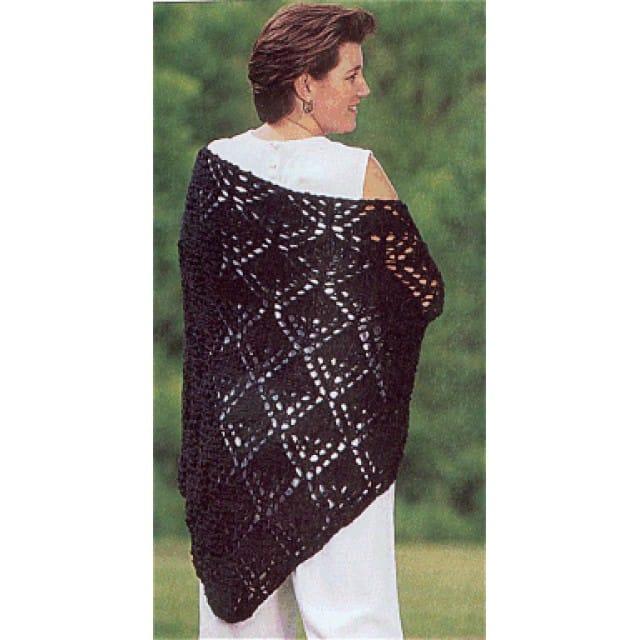 Diamond Knit Shawl Pattern (Knit) - Lion Brand Ya
