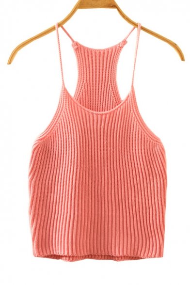 Women's Cami Crop Top Spaghetti Strap Knit Tank Top .
