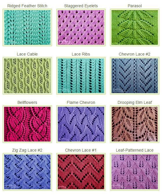 Knitting Stitch Patterns (With images) | Lace knitting stitches .