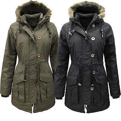 Womens Military Style Parka Coat Ladies Jacket Faux Fur Hood UK 8 .